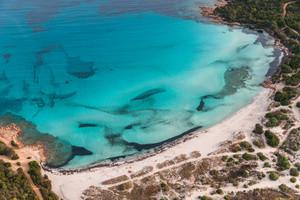 Costa Smeralda, Sardinia: Grande Pevero Beach (aerial)